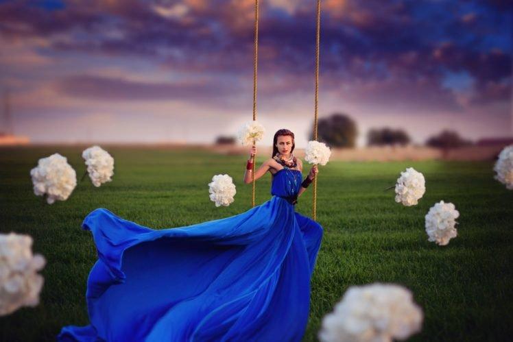 women, Model, Brunette, Long hair, Women outdoors, Dress, Nature, Flowers, Ropes, Field, Trees, Clouds, Photo manipulation HD Wallpaper Desktop Background