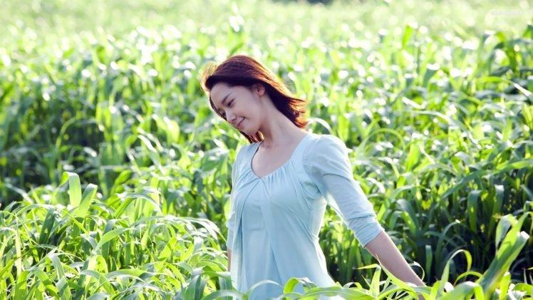 women, Model, Brunette, Long hair, Women outdoors, Dress, Asian, Smiling, Field, Nature HD Wallpaper Desktop Background