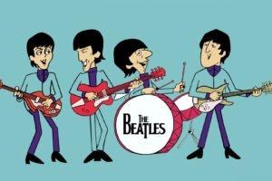 musicians, Singer, Blue background, Guitar, Drums, John Lennon, Paul McCartney, George Harrison, Ringo Starr, Legend, The Beatles, Cartoon