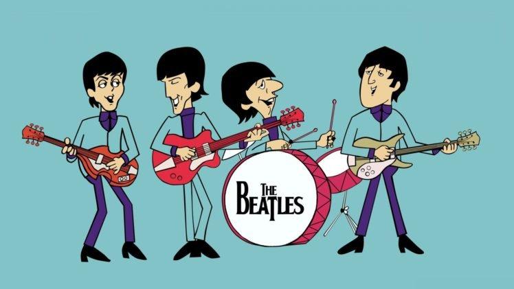 musicians, Singer, Blue background, Guitar, Drums, John Lennon, Paul McCartney, George Harrison, Ringo Starr, Legend, The Beatles, Cartoon HD Wallpaper Desktop Background