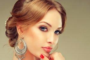 face, Women, Lips, Jewelry, Blue eyes, Redhead, Earrings, Brunette
