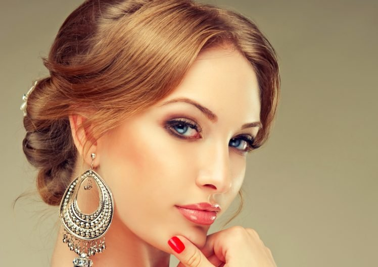 face, Women, Lips, Jewelry, Blue eyes, Redhead, Earrings, Brunette HD Wallpaper Desktop Background