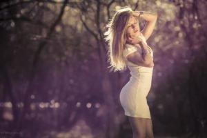 women, Model, Blonde, Hands on head, Closed eyes
