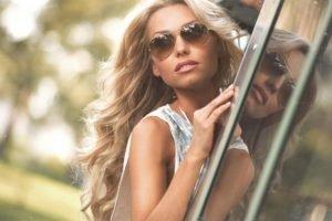 women, Model, Blonde, Sunglasses, Long hair, Wavy hair