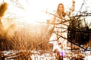 women, Nature, Blonde, Women outdoors, Twigs, Sunlight, White dress