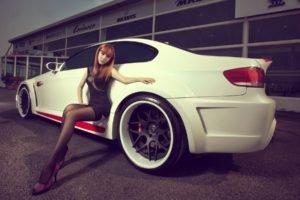 women, Redhead, Asian, Tights, High heels, Car