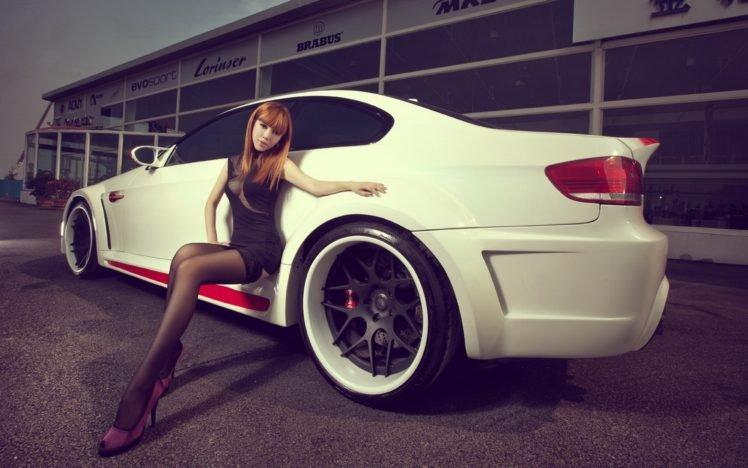 women, Redhead, Asian, Tights, High heels, Car HD Wallpaper Desktop Background