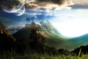 digital art, Landscape, Space, Space art, Nature, Sky, Clouds