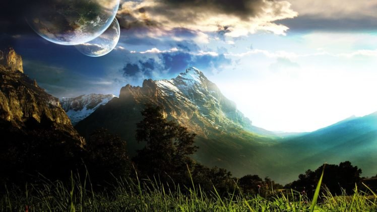 digital art, Landscape, Space, Space art, Nature, Sky, Clouds HD Wallpaper Desktop Background