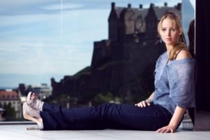 women, Jennifer Lawrence, Blonde, Blue eyes, Jeans, High heels, Window, Window sill