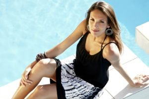 Sarah Jackson, Women, Brunette, Skirt, Long hair, Dress, Legs, Model, Bracelets, Auburn hair, Swimming pool, Sitting