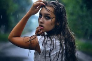 women, Model, Brunette, Long hair, Women outdoors, Trees, Open mouth, Blue eyes, Wet hair, Wet, Water drops, Rain, Hands on head