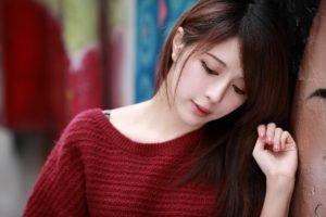 women, Model, Brunette, Long hair, Face, Asian, Sweater