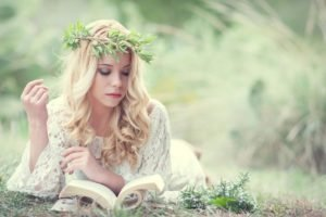women, Blonde, Long hair, Model, Women outdoors, Reading, Books, White dress, Nature, Grass, Wreaths