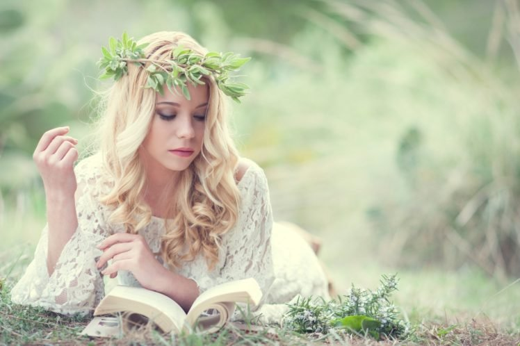 women, Blonde, Long hair, Model, Women outdoors, Reading, Books, White dress, Nature, Grass, Wreaths HD Wallpaper Desktop Background