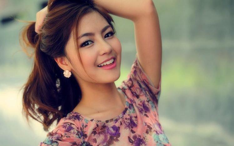 Asian Smiling Women Women Outdoors Hd Wallpapers Desktop And