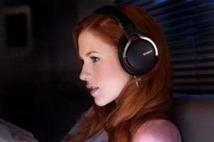redhead, Headphones, Women, Sony, Face