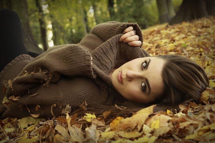 model, Brunette, Long hair, Women outdoors, Nature, Trees, Leaves, Sweater, Piercing, Fall, Brown eyes, Pierced lip, Sandra, Face HD Wallpaper Desktop Background