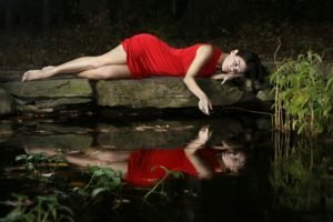 women, Model, Brunette, Long hair, Women outdoors, Nature, Red dress, Barefoot, Water, Lake, Reflection, Dress, Legs, Dark hair