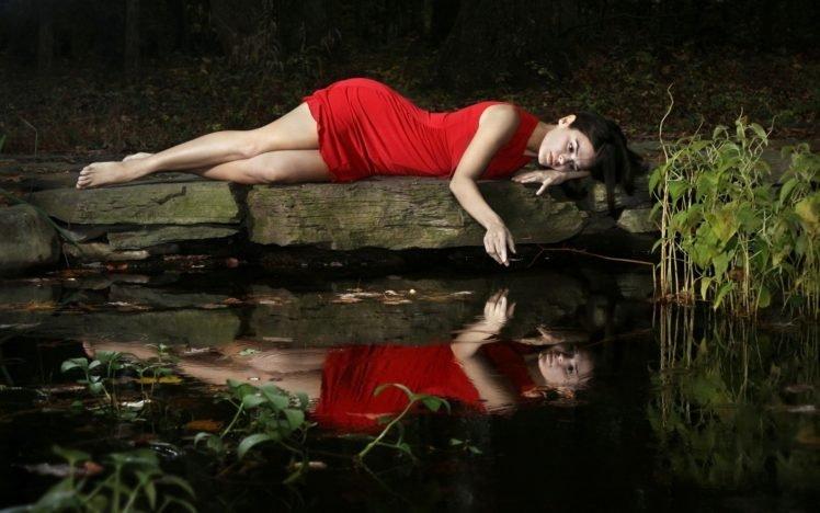 women, Model, Brunette, Long hair, Women outdoors, Nature, Red dress, Barefoot, Water, Lake, Reflection, Dress, Legs, Dark hair HD Wallpaper Desktop Background
