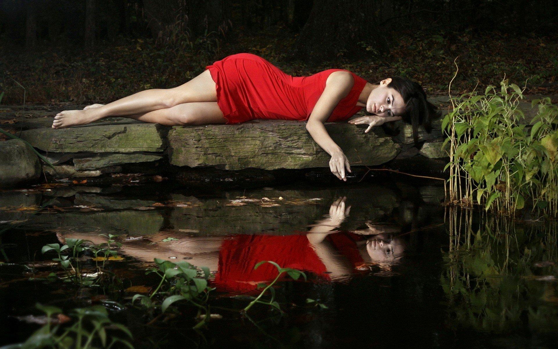 women, Model, Brunette, Long hair, Women outdoors, Nature, Red dress, Barefoot, Water, Lake, Reflection, Dress, Legs, Dark hair Wallpaper