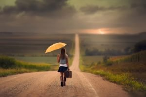 women, Model, Brunette, Long hair, Women outdoors, Nature, Road, Clouds, Boots, Umbrella, Skirt, Suitcases, Jake Olson, Nebraska