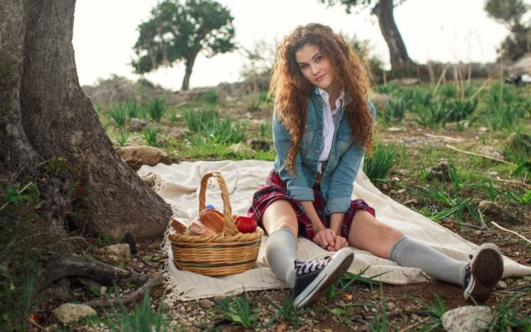 women, Model, Brunette, Long hair, Women outdoors, Nature, Curly hair, Skirt, Picnic, Sitting, Trees HD Wallpaper Desktop Background