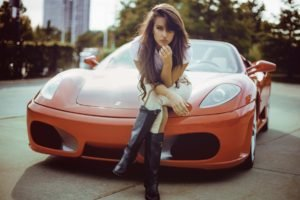 Ferrari, Women with cars, Red cars, Boots