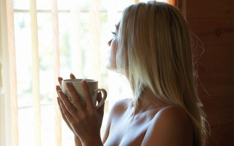 women, Model, Blonde, Long hair, Cleavage, Cup, Hand, Curtains, Monika HD Wallpaper Desktop Background
