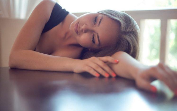 women, Model, Blonde, Long hair, Cleavage, Table, Black tops HD Wallpaper Desktop Background