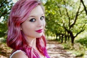 women, Pink hair, Dyed hair
