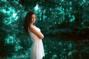 women, Brunette, Long hair, Model, Women outdoors, Nature, White dress, Trees, Forest, Water, Karina Kasparyants