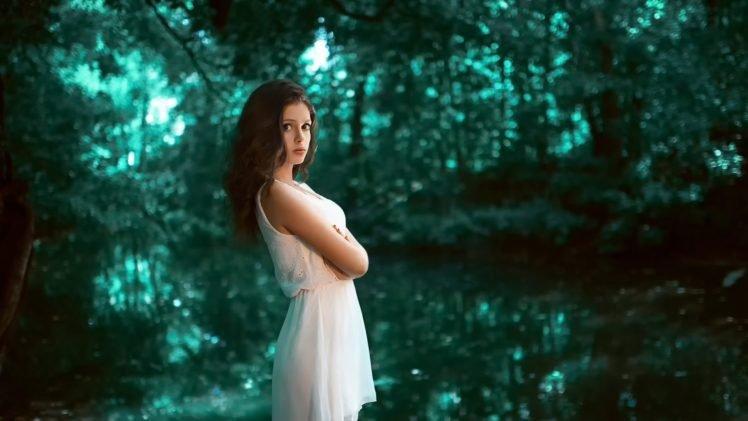 women, Brunette, Long hair, Model, Women outdoors, Nature, White dress, Trees, Forest, Water, Karina Kasparyants HD Wallpaper Desktop Background