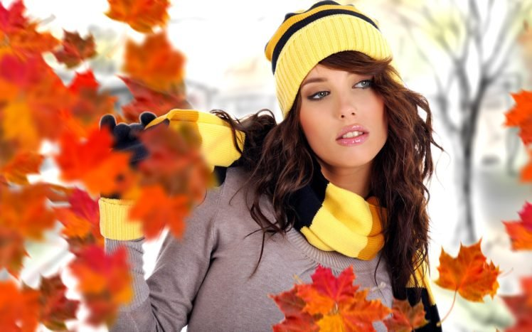 women, Brunette, Long hair, Model, Women outdoors, Nature, Open mouth, Sweater, Leaves, Fall, Izabela Magier HD Wallpaper Desktop Background
