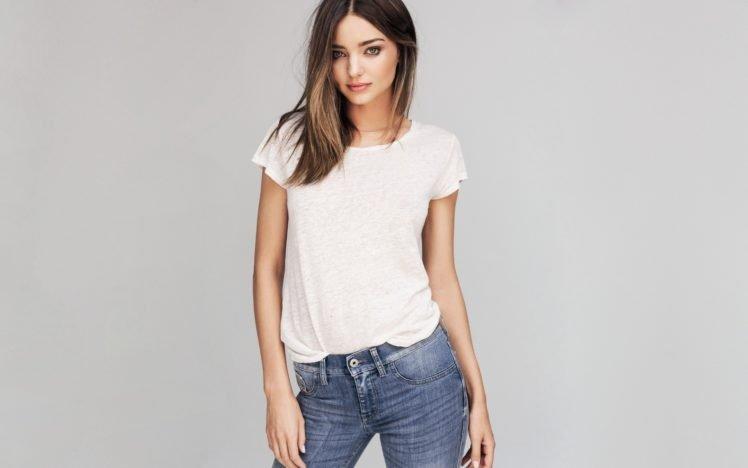 Miranda Kerr, Women, Model, Brunette, Blue eyes, White tops, Jeans HD Wallpaper Desktop Background