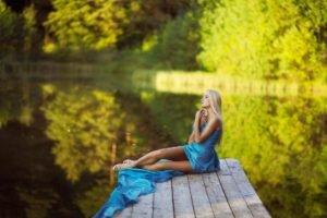 women, Model, Long hair, Brunette, Women outdoors, Water, Dress, Blonde, Closed eyes, High heels, Trees, Reflection, Nature