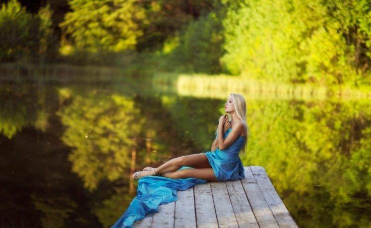 women, Model, Long hair, Brunette, Women outdoors, Water, Dress, Blonde, Closed eyes, High heels, Trees, Reflection, Nature HD Wallpaper Desktop Background
