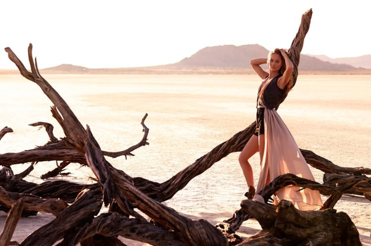 women, Model, Long hair, Brunette, Women outdoors, Dress, Branch, Desert, Hill, Nature, Candice Swanepoel, Dead trees, Landscape HD Wallpaper Desktop Background