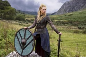 Vikings (TV series), Lagertha Lothbrok, Women, Shields, Sword, Actress, Women outdoors, Blonde, Nature, Landscape