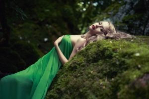 women, Model, Blonde, Long hair, Nature, Women outdoors, Dress, Open mouth, Rock, Trees, Green, Moss, Forest