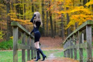 women, Model, Blonde, Long hair, Nature, Women outdoors, Boots, Black dress, Trees, Bridge, Fall