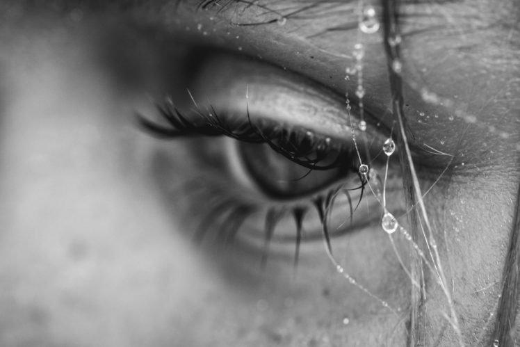 macro, Face, Eyes, Water drops HD Wallpaper Desktop Background