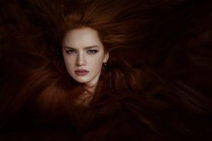women, Redhead, Photo manipulation, Face, Blue eyes, Long hair