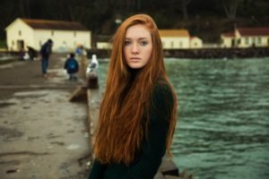 redhead, Freckles, Women, Long hair