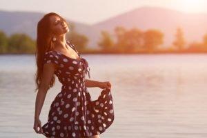 women, Polka dots, Women outdoors, Closed eyes, Dress