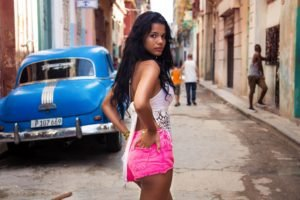 women, Shorts, Brunette, Hands on hips, Looking back, Cuba, Car, Dark hair, Long hair, Street, Women outdoors