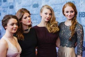 Sophie Turner, Women, Actress, Redhead, Natalie Dormer, Maisie Williams, Blonde, Game of Thrones, Rose Leslie, Braids, Dress, Group of women