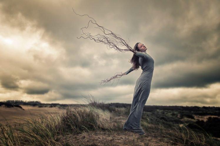 women, Model, Long hair, Photo manipulation, Nature, Brunette, Women outdoors, Clouds, Dress, Branch, Creativity HD Wallpaper Desktop Background