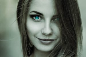 face, Women, Smiling, Selective coloring, Turquoise eyes, Brunette, Closeup