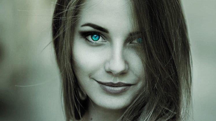 face, Women, Smiling, Selective coloring, Turquoise eyes, Brunette, Closeup HD Wallpaper Desktop Background